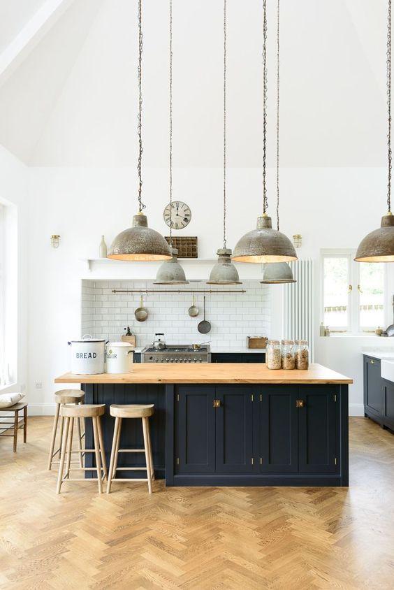 industriële keuken industriële hanglampen