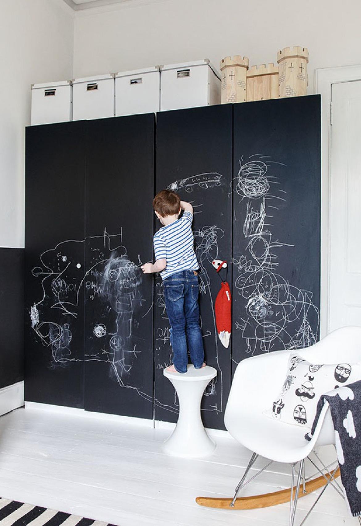 jongenskamer krijtbord muur