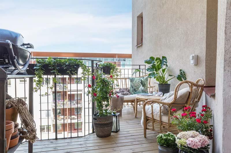 Klein a-symmetrisch balkon inrichten