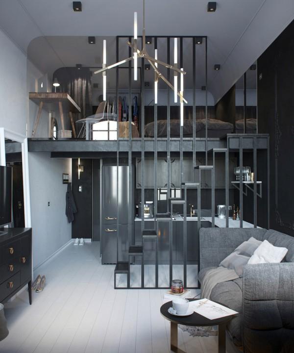 Klein appartement met een klassiek industrieel interieur homease - Een klein appartement ontwikkelen ...