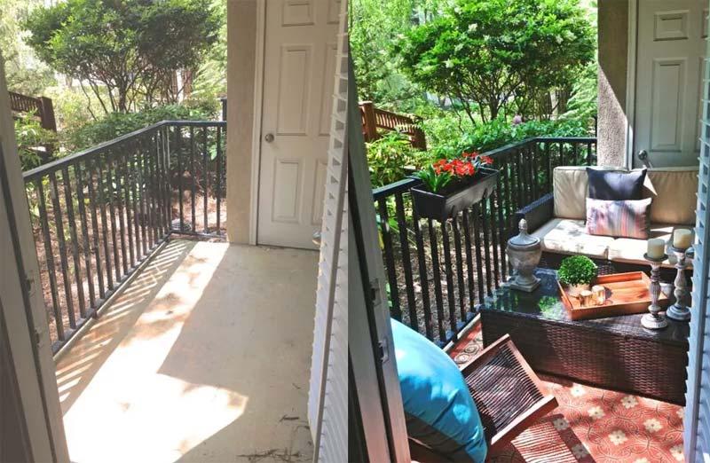 klein balkon inrichten woonkamer