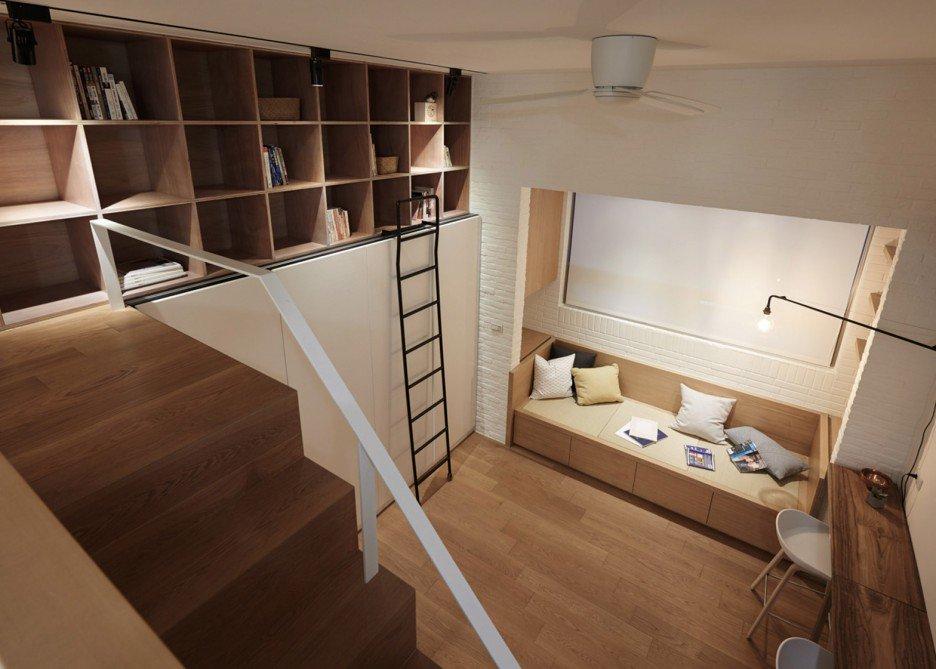 In dit kleine appartement van 22m2 hebben ze de slaapkamer p de badkamer ingericht homease - Badkamer klein gebied m ...