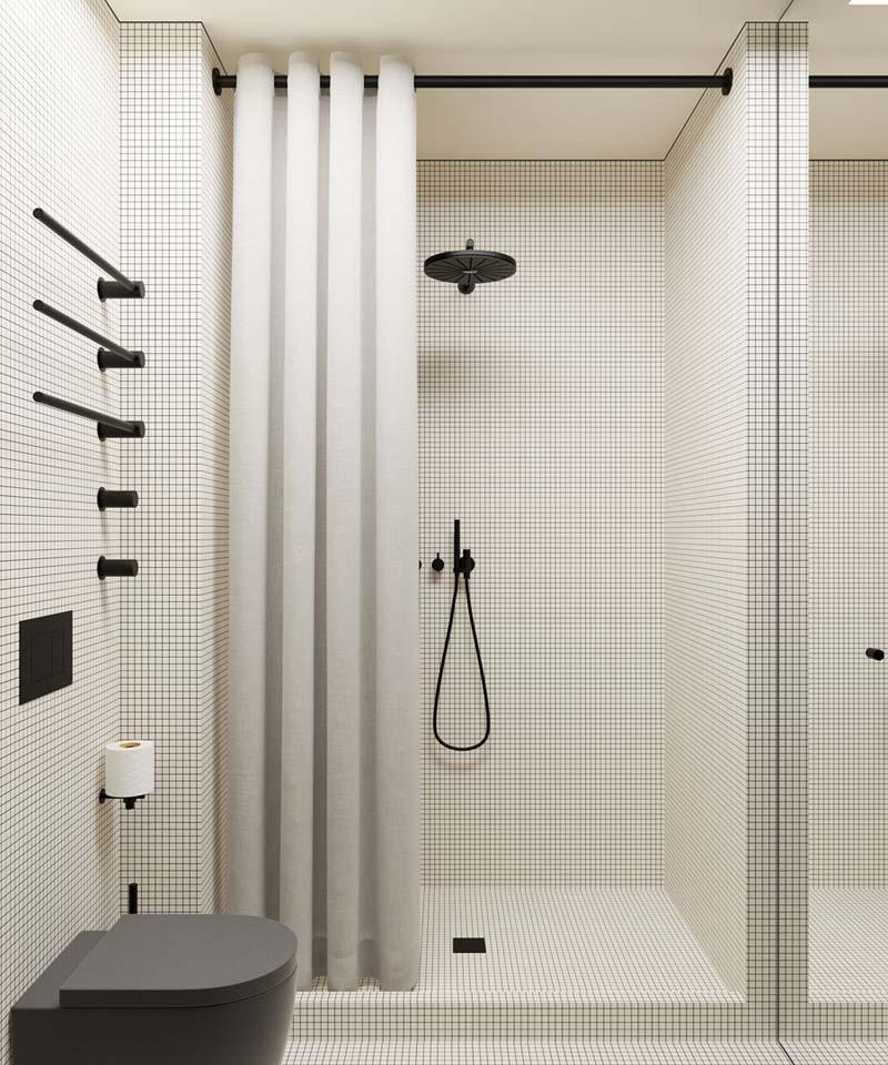 kleine moderne badkamer zwart wit
