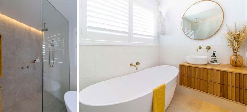 kleine spa badkamer met douche en bad