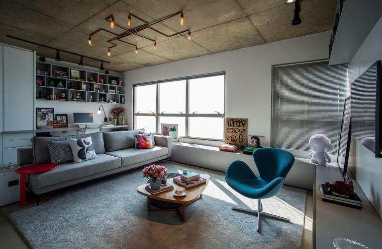 Kleine stoere loft woonkamer