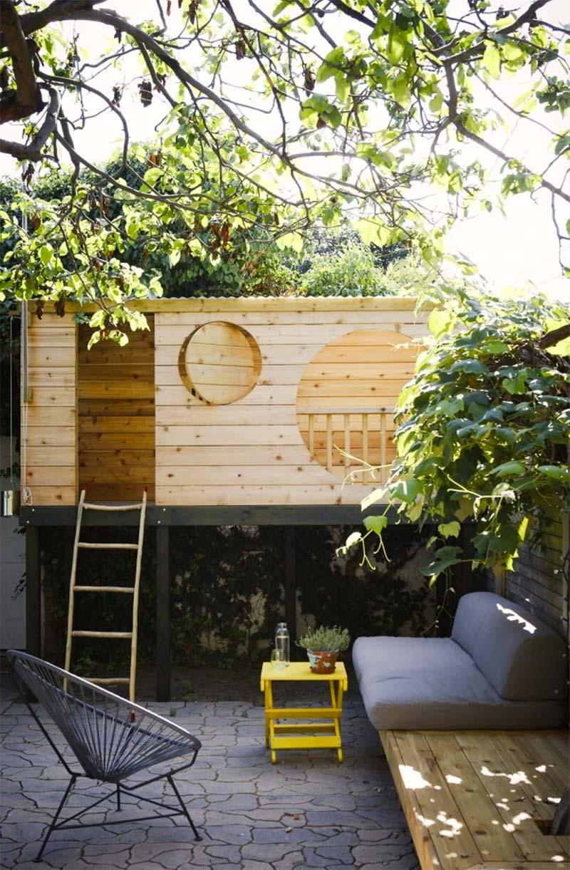 kleine tuin inrichten speelhuis