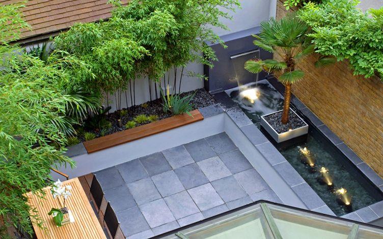 kleine tuin ontwerpen bali tuin strakke vijver