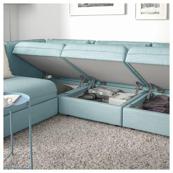 Kleine woonkamer bank met opbergruimte