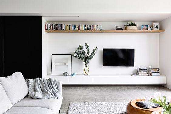 Kleine woonkamer wandplank