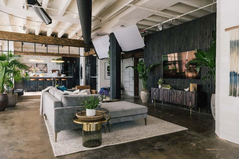 loft woonkamer zithoek grote loungebank