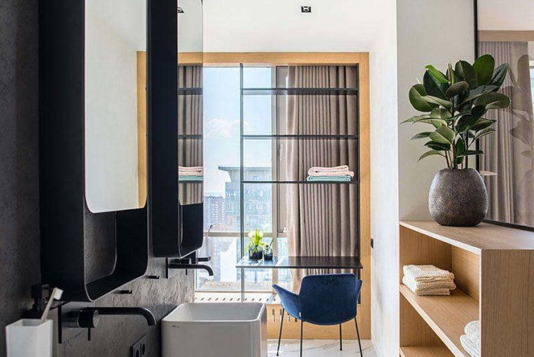 luxe badkamer dubbele wastafels zwarte kranen