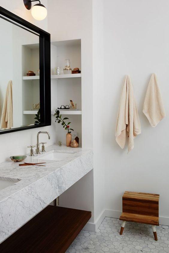 marmeren wastafel houten werkblad