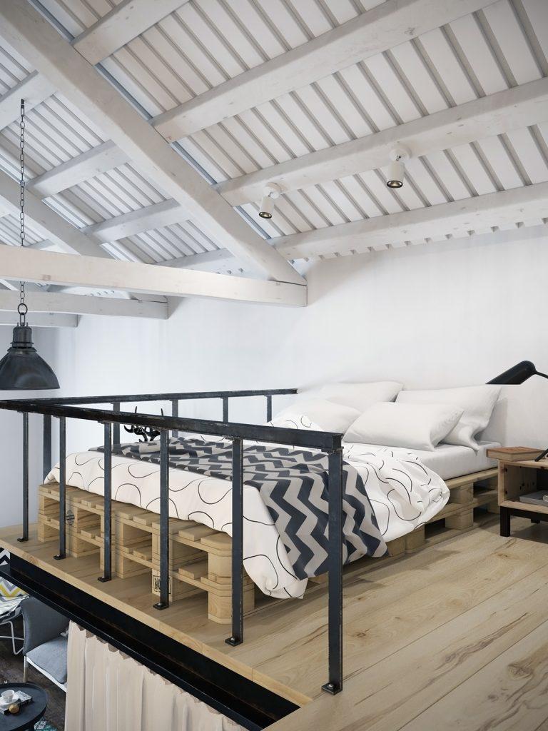 Mezzanine Slaapkamer in mini loft van 45m2