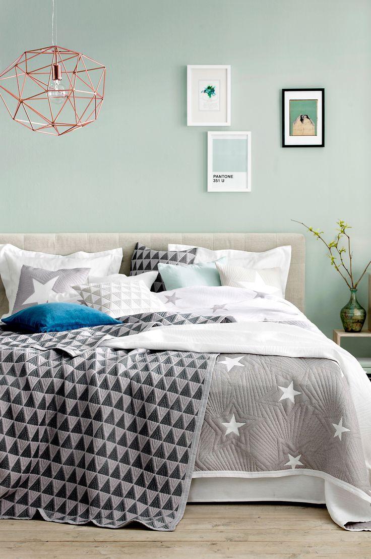 Mintgroene muren slaapkamer