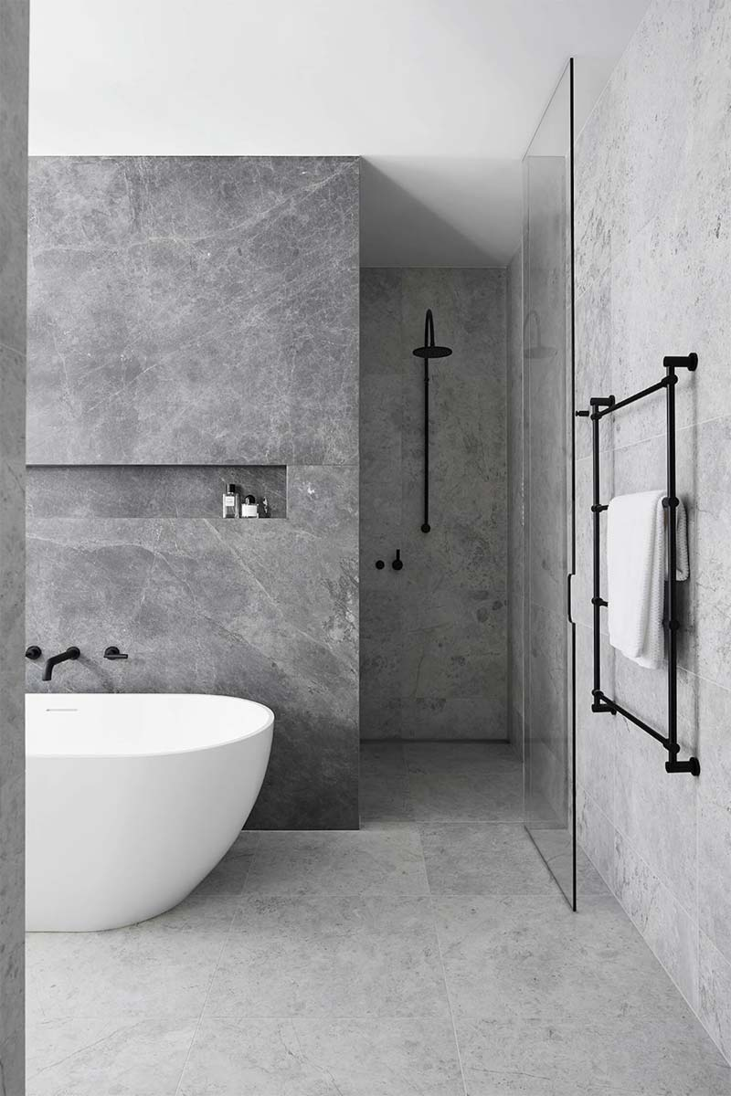 moderne badkamer minimalistisch stoer