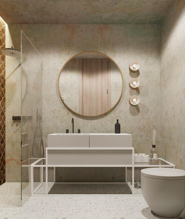 Moderne badkamer uniek ontwerp met natuurlijke tinten
