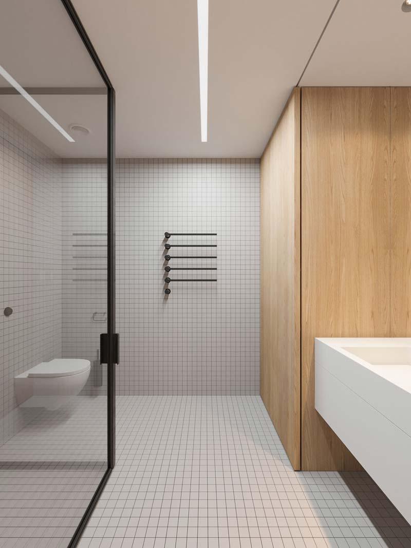 Moderne badkamer Wit, hout en zwart