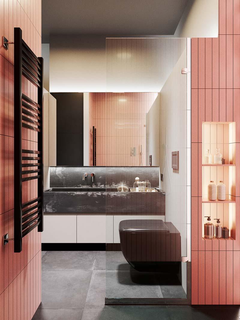 moderne grijs roze badkamer
