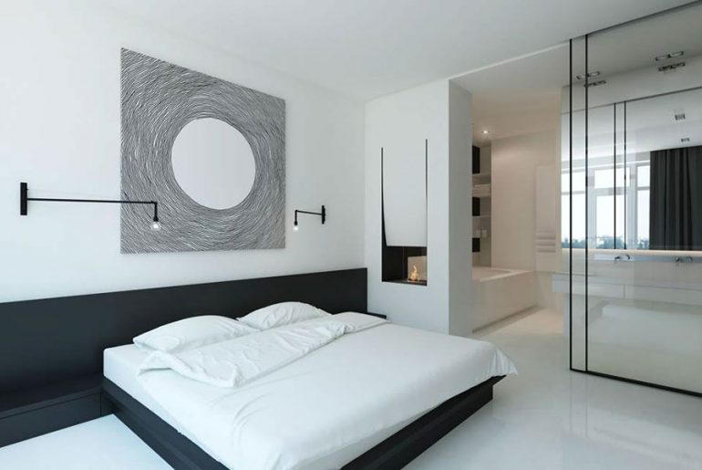 Moderne minimalistisch witte slaapkamer suite
