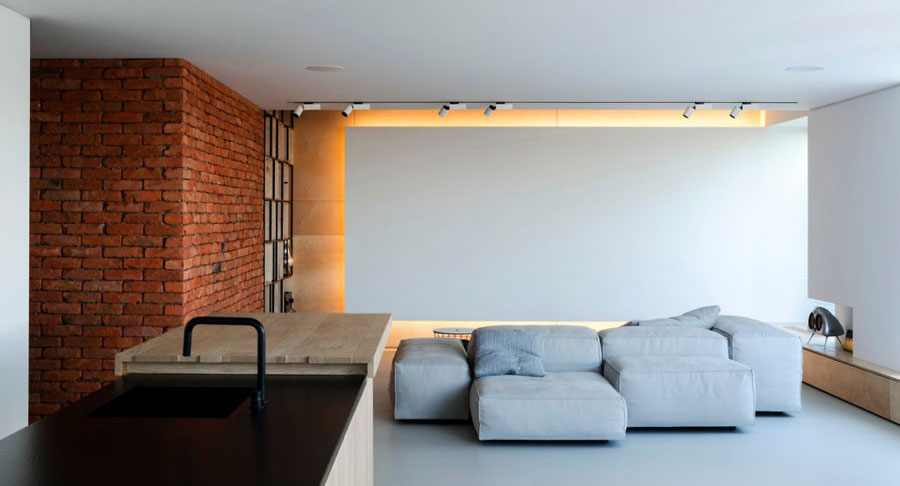 moderne woonkamer bakstenen muur