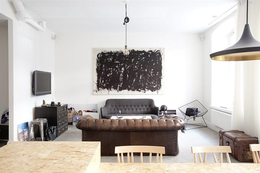 moderne woonkamer industrieel vintage