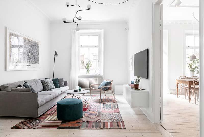 Moderne woonkamer Kleurrijk patchwork vloerkleed