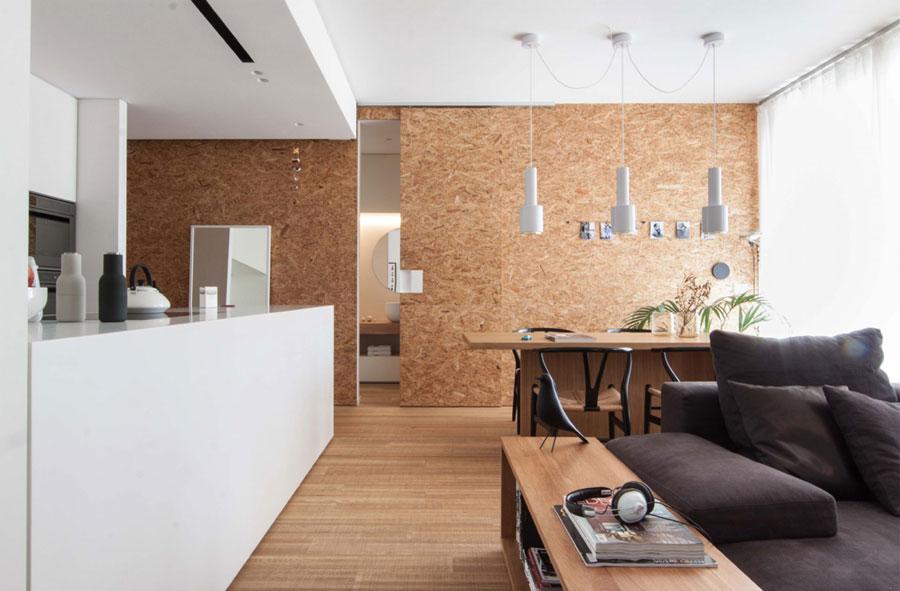 Moderne woonkamer Open keuken, eethoek en werkplek