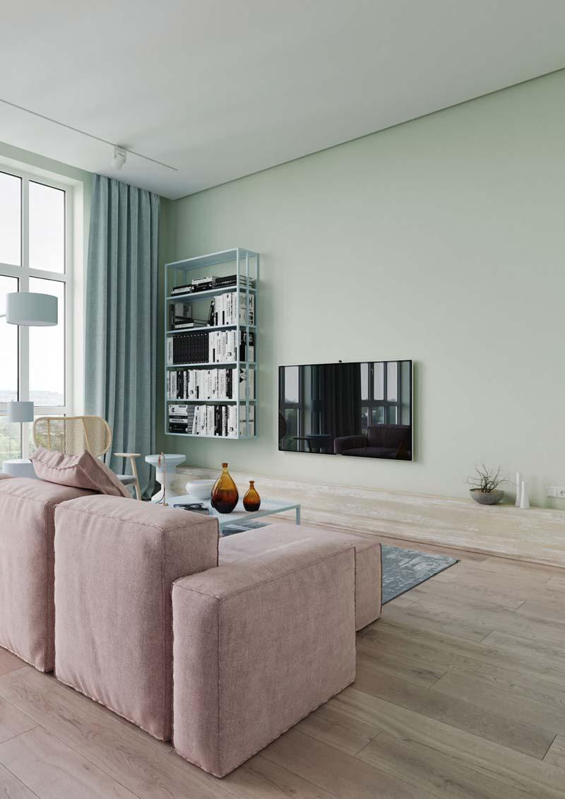 moderne woonkamer pastelkleuren