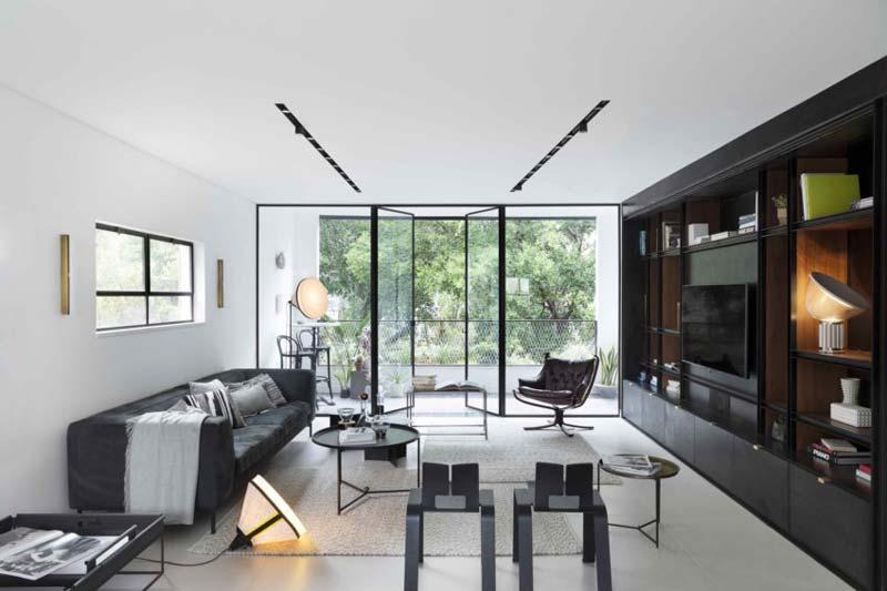 moderne woonkamer zwart wit