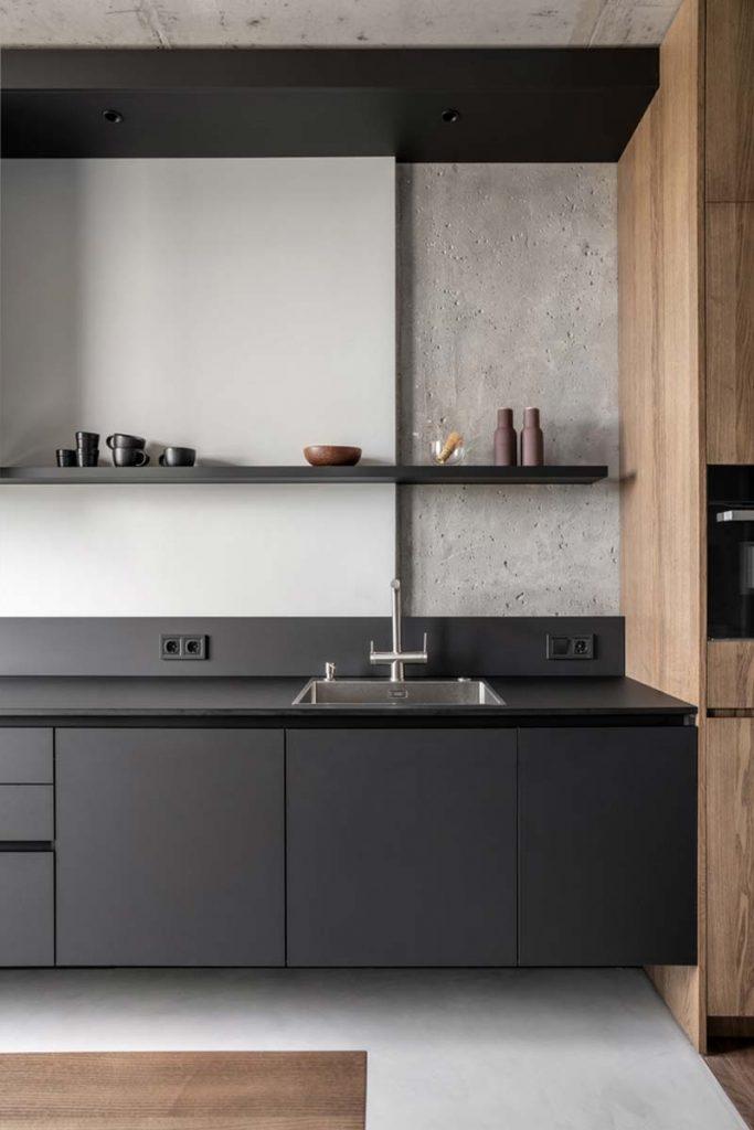moderne zwevende zwarte keuken