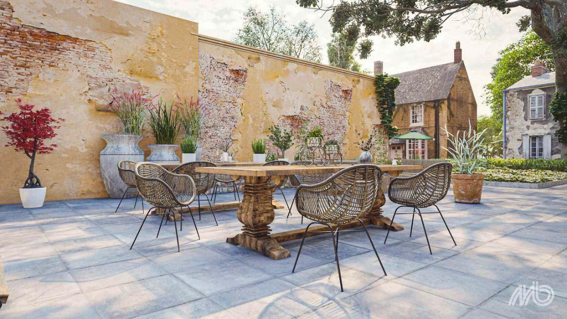 Heb je een landelijke tuin? De De Ceramaxx French Vintage Grey tegels, super mooie keramische terrastegels met een verouderde uitstraling, doen denken aan de authentieke Franse dallen die je vaak ziet in Franse kastelen en landhuizen.