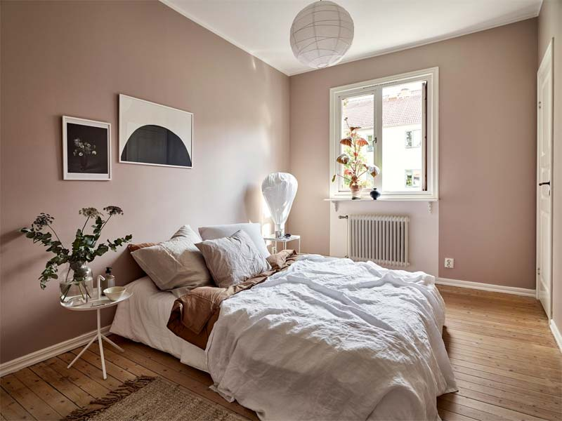 muur kleur kiezen interieur roze slaapkamer