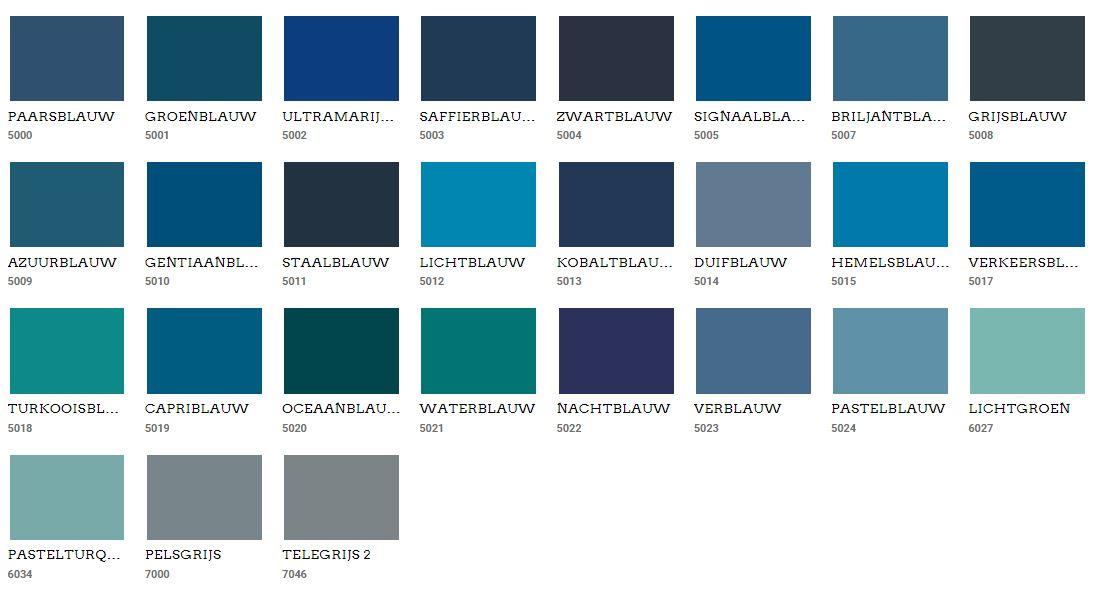 Muur kleuren blauw Ral