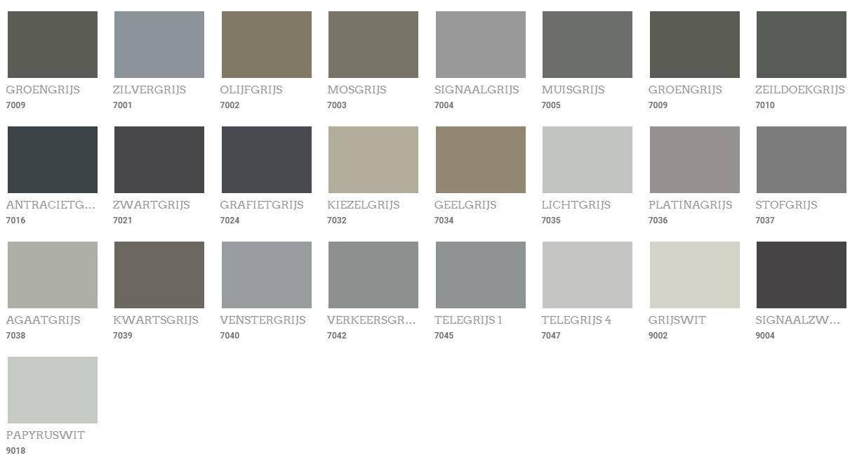 Muur kleuren grijs Ral