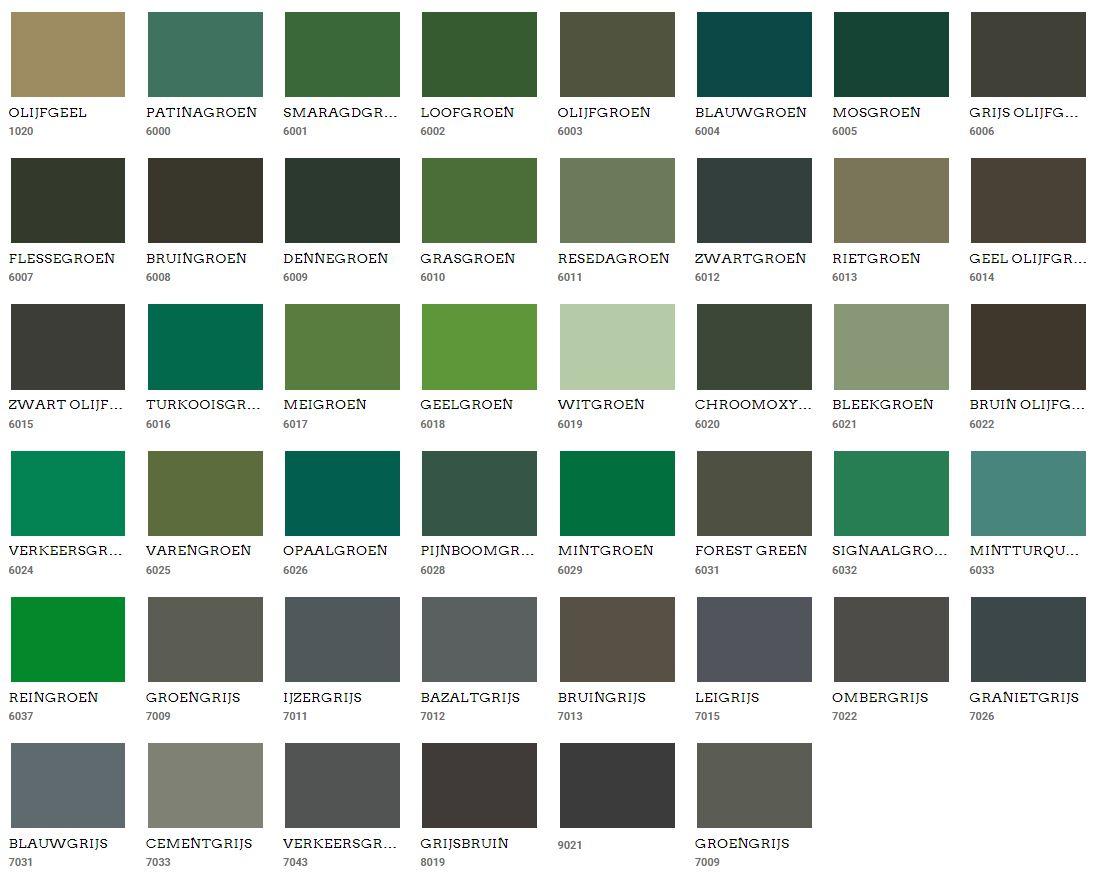 Muur kleuren groen Ral
