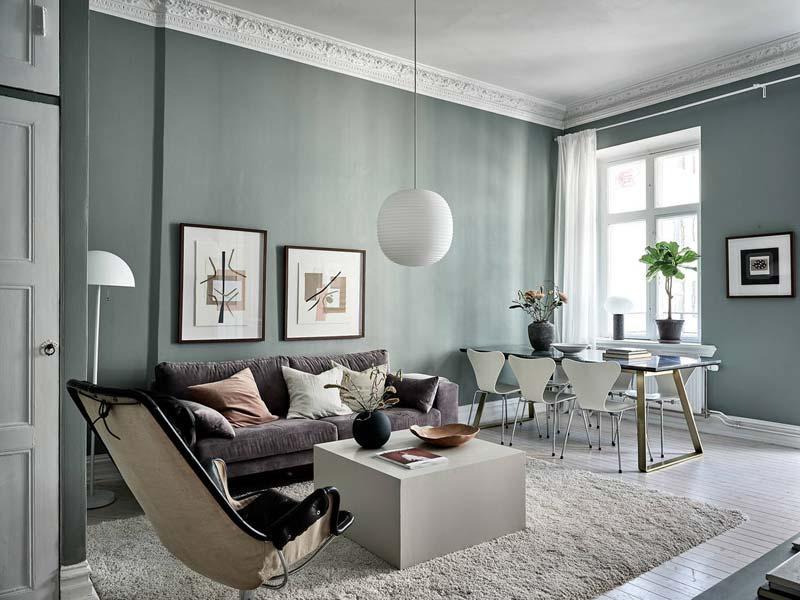 olijfgroene muren interieur