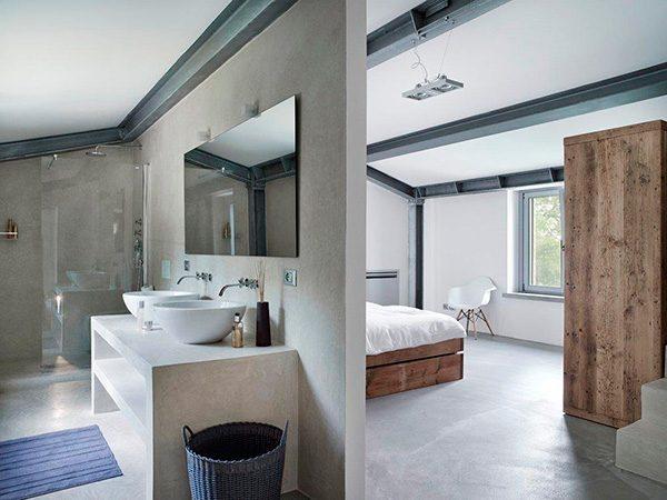 Stoere slaapkamer van villa vergelle homease - Slaapkamer met open badkamer ...