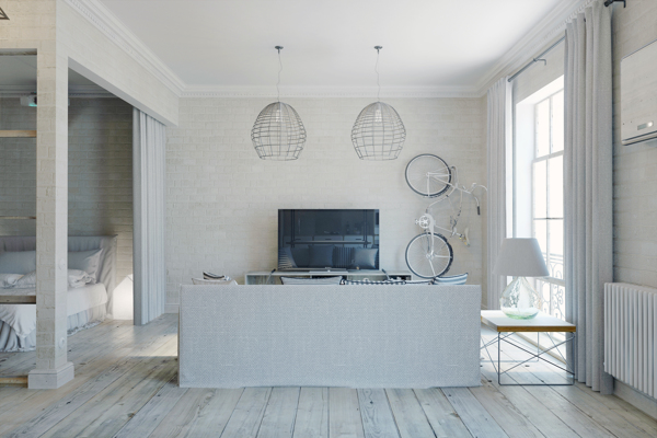 Open Keuken Afsluiten : De open slaapkamer is ingericht naast de woonkamer, maar met gordijnen