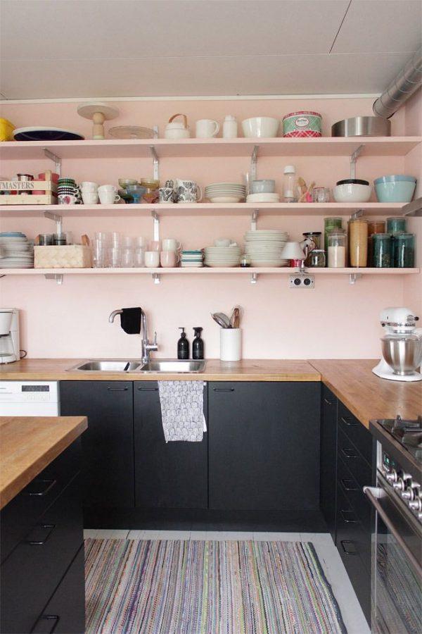 Pastel muur keuken