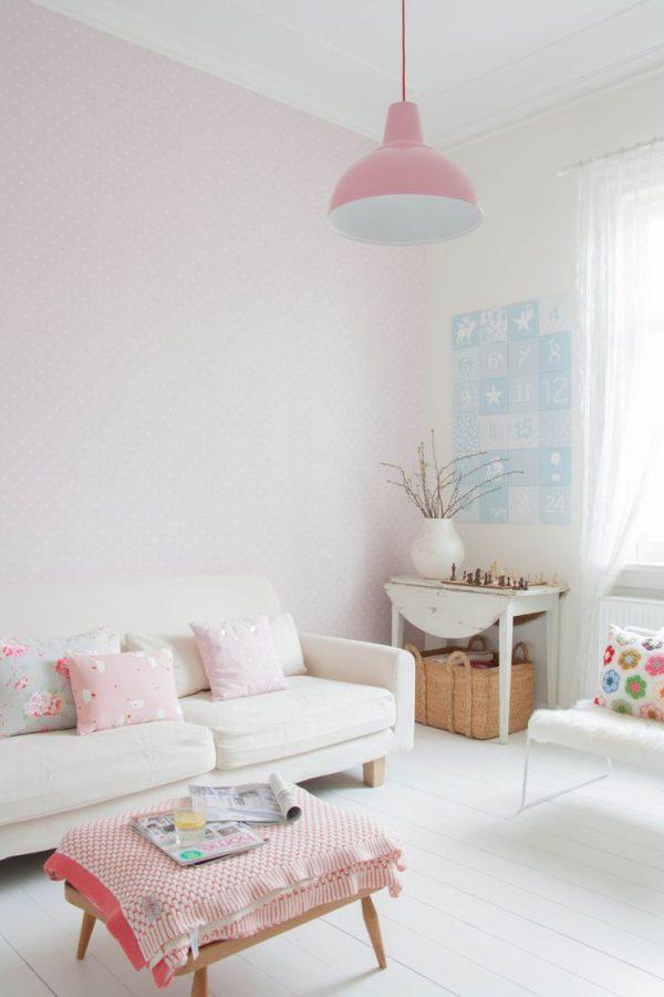 Pastel muur woonkamer
