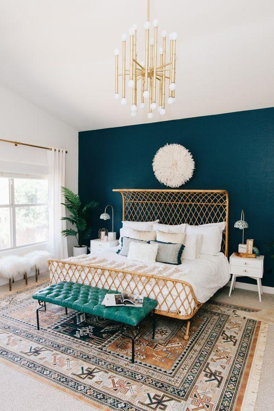 petrol kleur muur slaapkamer