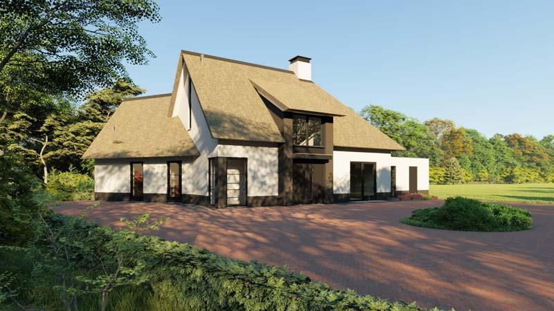 Prefab woning Woonboerderij met rieten dak