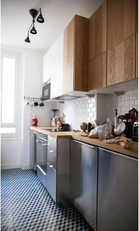 roestvrijstalen-keuken-houten-werkblad