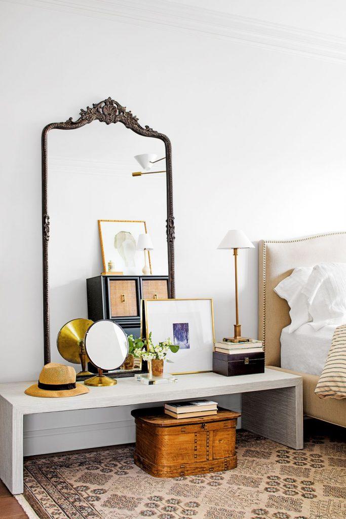 slaapkamer decoratie ideeën bankje als nachtkastje