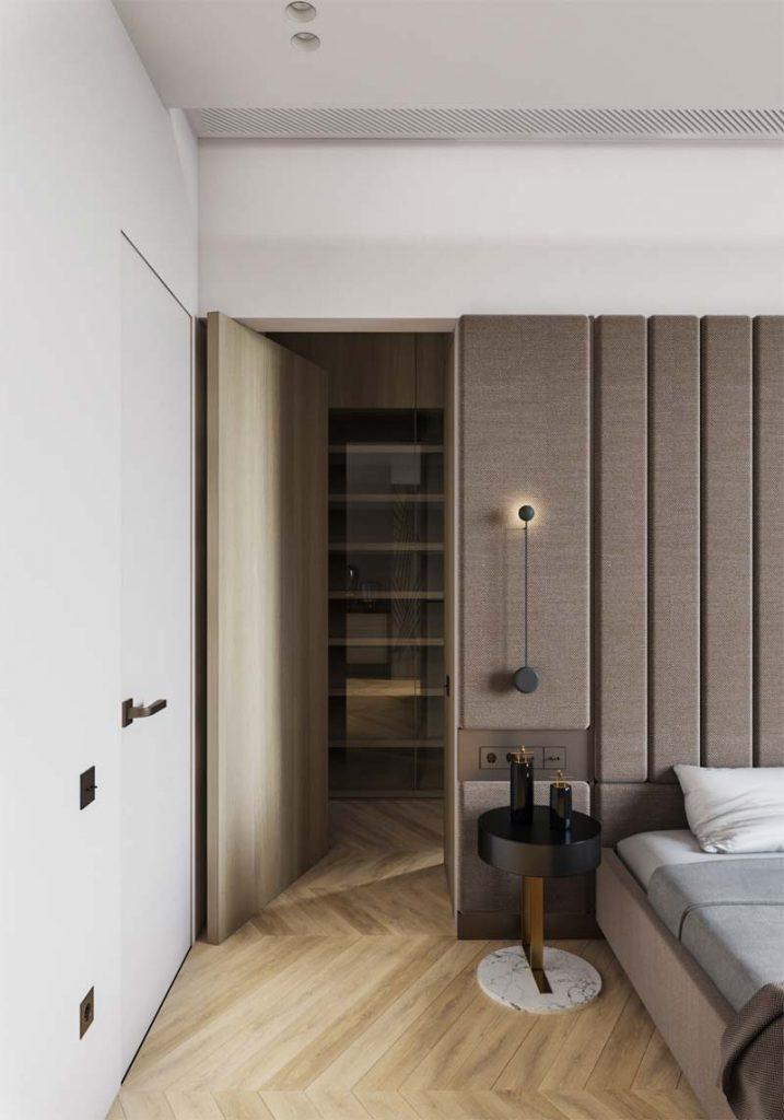 slaapkamer decoratie ideeën gestoffeerde muur