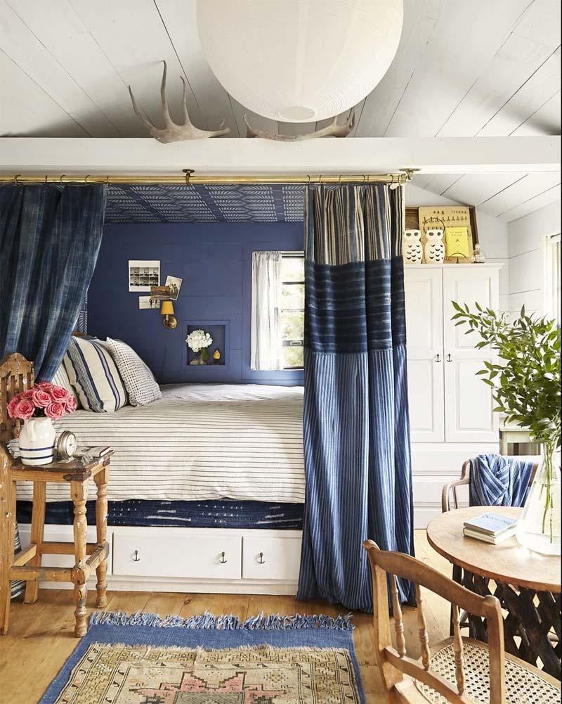 slaapkamer decoratie ideeën gordijnroede knus bed