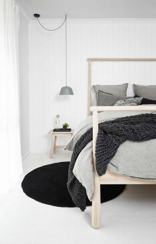 slaapkamer decoratie ideeen hanglamp boven nachtkastje