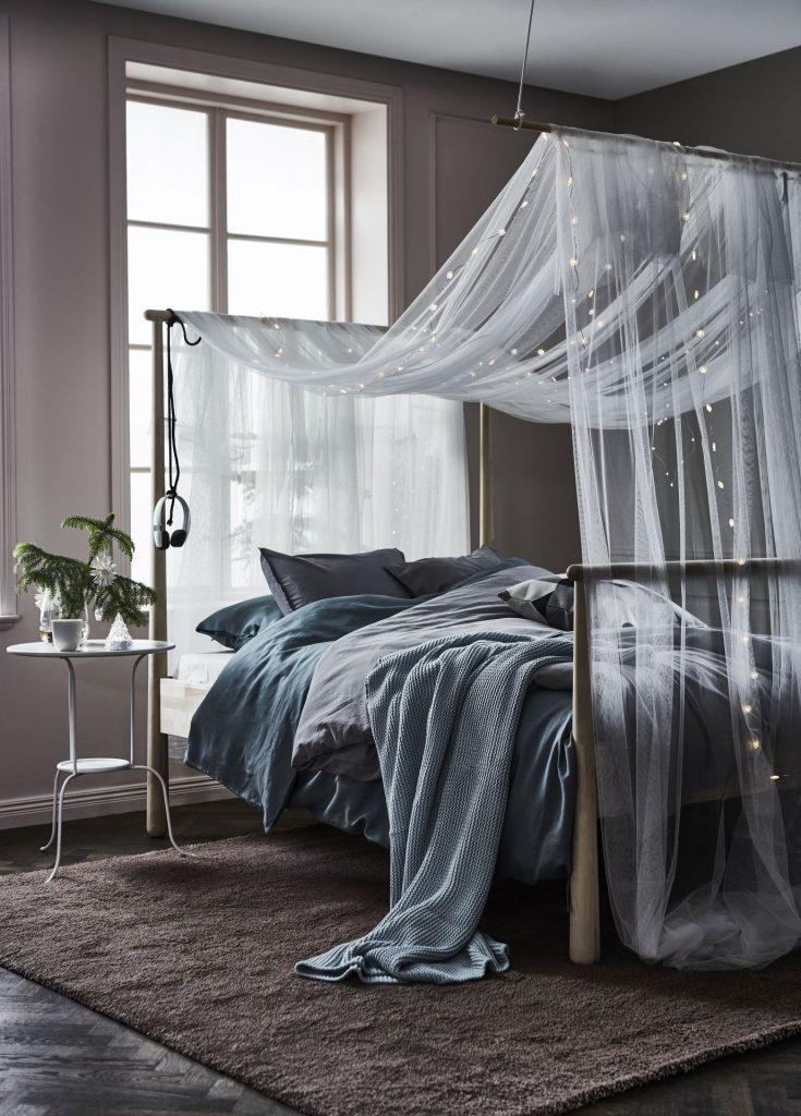 slaapkamer decoratie ideeen klamboe lichtjes