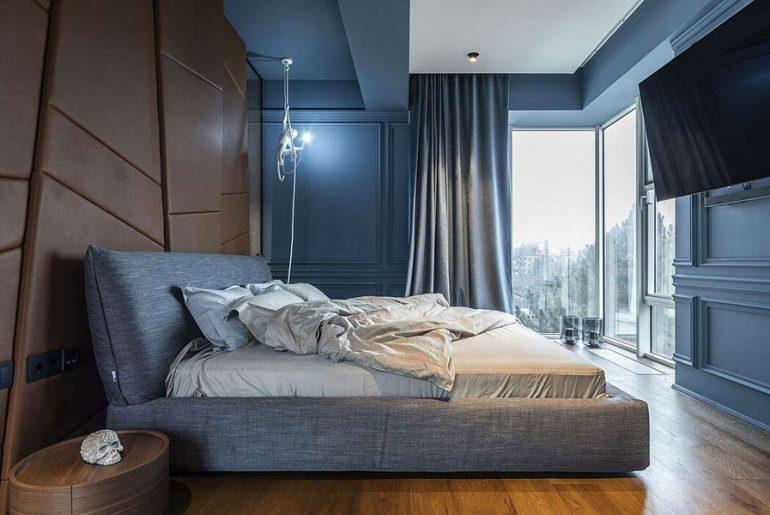slaapkamer decoratie ideeen leren statement muur
