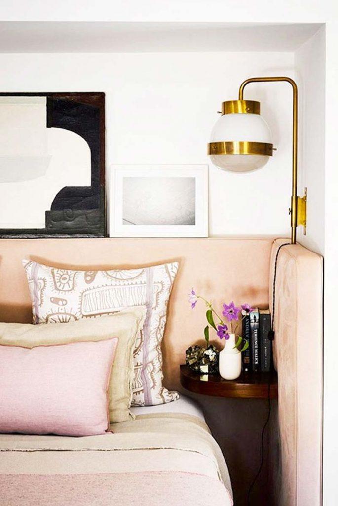 slaapkamer decoratie ideeën maatwerk roze fluwelen hoofdbord